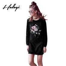 Hodoyi Apparel Women Mini Dress Crew Neck Casual Solid Black Long Sleeve Dress Floral Embroidery Elegant Female Dress Vestidos