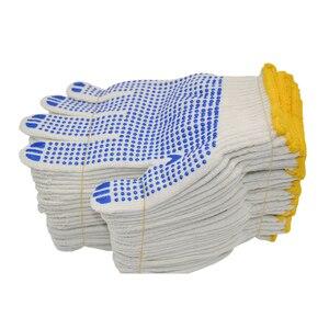 Image 1 - العمل 700 جرام من البلاستيك الغزل قفازات نقطة الغراء قفاز القطن عدم الانزلاق نقطة حبة قفازات