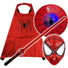 Marvel spiderman figure toy LED avengers mask sabre de luz launches glove cape role play Halloween