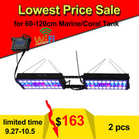 Programmable 2PCS PopBloom Aqua Dimmable LED Aquarium Lighting Full Spectrum For iluminacion SPS LPS Marine fish tank lamp