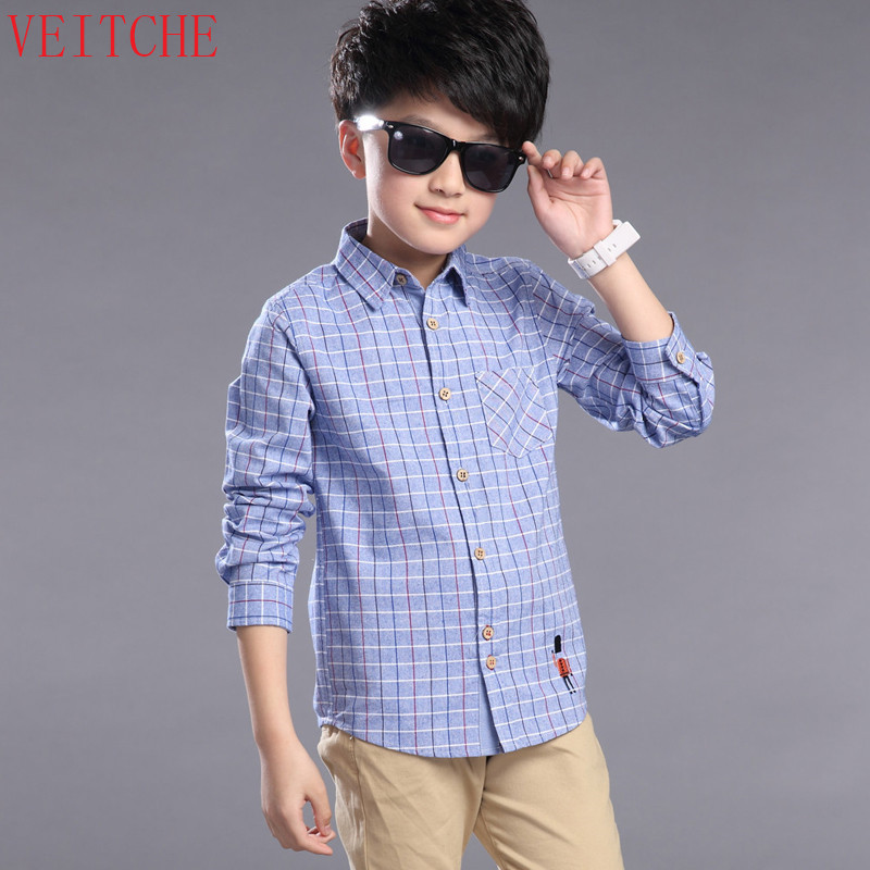 Shirts For Boys Cotton Brand Children Shirts Kids Clothes For Boys Plaid Boys Shirts Long Sleeve Turndown School Uniform Shirt summer kids clothes sets boys girls short sleeve t shirts plaid shorts skirts children school uniform performance clothes