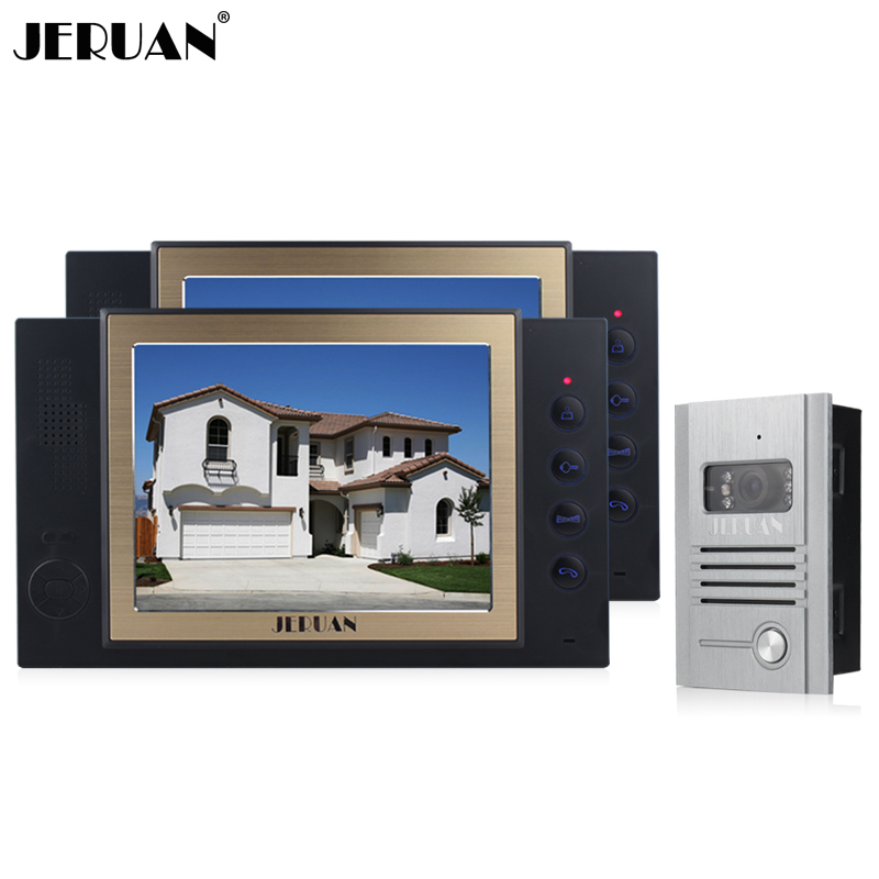 JERUAN 8 inch screen video door phone video recording and taking photo 1 Camera 2 monitors system High-grade metal panel jeruan 8 inch video door phone high definition mini camera metal panel with video recording and photo storage function
