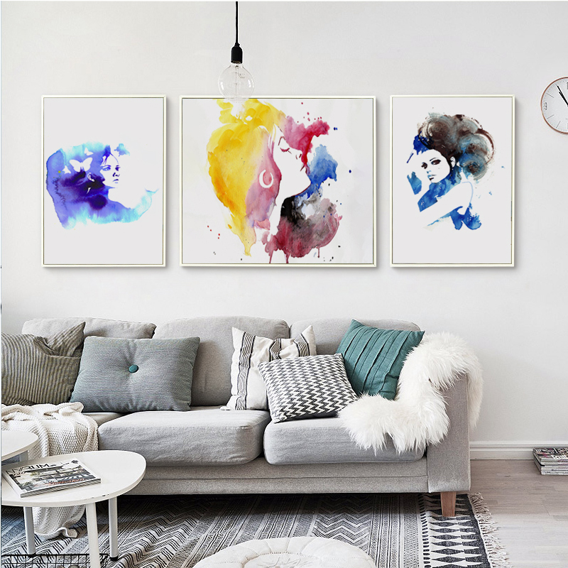 Bianche Wall Abstract Watercolor Woman Fashion A4 Canvas