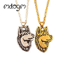 2017 New Fashion Cute Husky Necklace Dog Animal Pendant Gold Silver Plated Jewelry For Women Male Female Girls Ladies N010