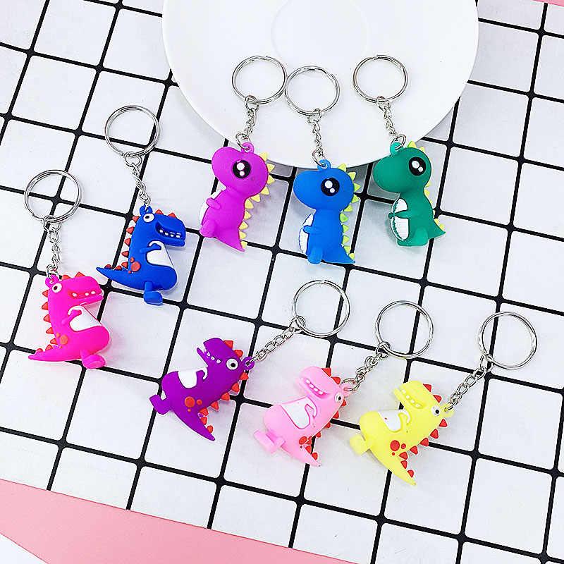 Креативный ПВХ мягкие Мультяшные Животные Динозавр форма брелок Подвеска женская сумка Автомобильный ключ кулон маленькая игрушка ювелирные изделия аксессуары