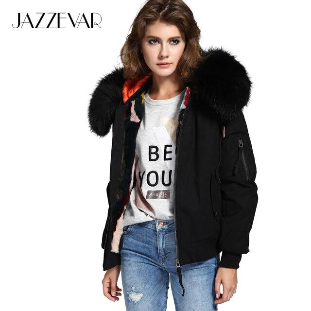 Jazzevar Новый высокой уличной моды женская зимняя куртка женская теплая куртка-бомбер пальто с капюшоном из меха енота верхняя одежда кроличий мех лайнер