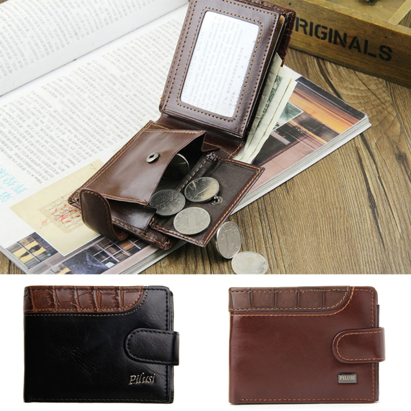 THINKTHENDO Chic Men Leather Wallet Vintage Coin Purse Clutch ID Credit Card Holder Billfold never leather badge holder business card holder neck lanyards for id cards waterproof antimagnetic card sets school supplies