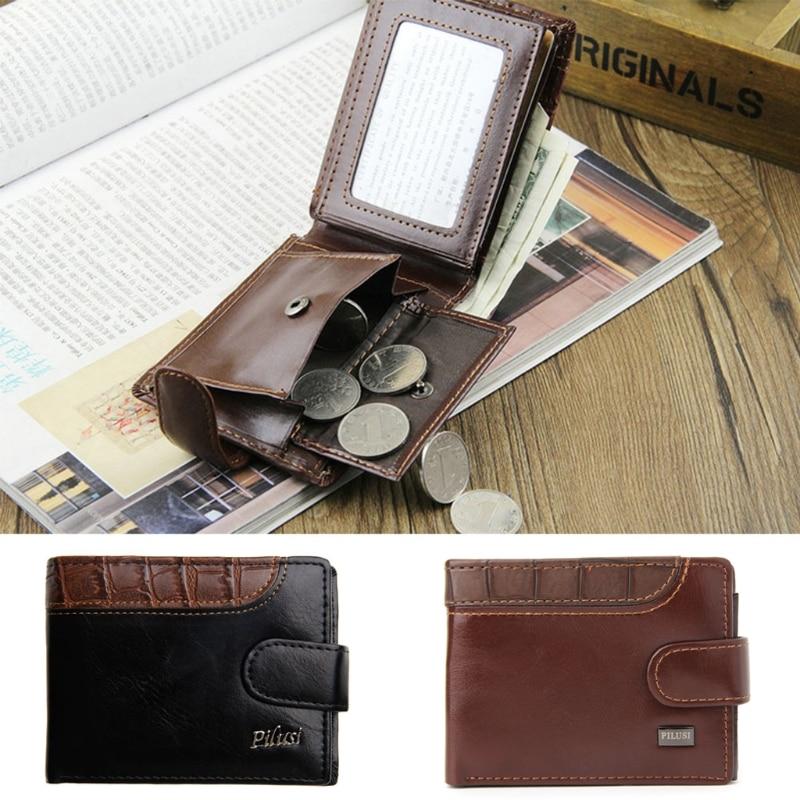 THINKTHENDO Chic Men Leather Wallet Vintage Coin Purse Clutch ID Credit Card Holder Billfold 100% genuine leather men s coffee wallet business credit card holder coin id purse 8011 1q
