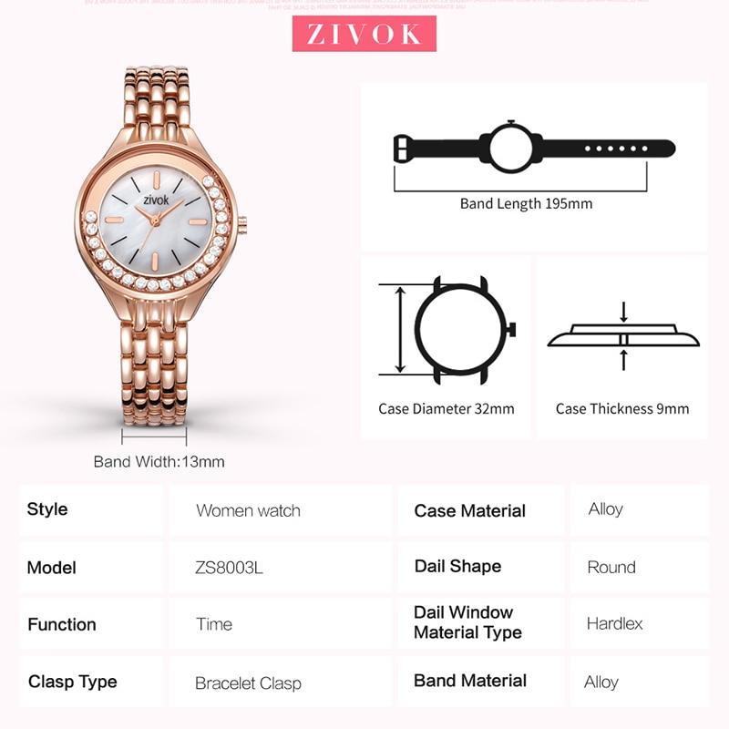 zivok Նորաձևություն բրենդ Ոսկե կանանց - Կանացի ժամացույցներ - Լուսանկար 5