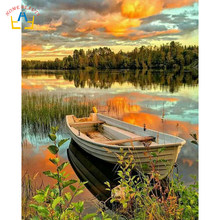 Canoe on the lake draw picture by numbers on canvas wall art paintings for living room home decoration posters and prints RA3039(China)