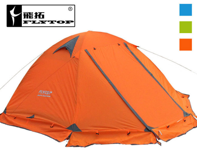 Good quality Flytop double layer 2 person 4 season aluminum rod outdoor camping tent Topwind 2