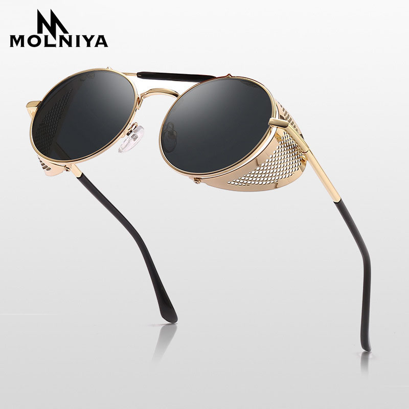2019 Retro Steampunk Sunglasses Round Designer Steam Punk Metal Shields Sunglasses Men Women UV400 Gafas De Sol