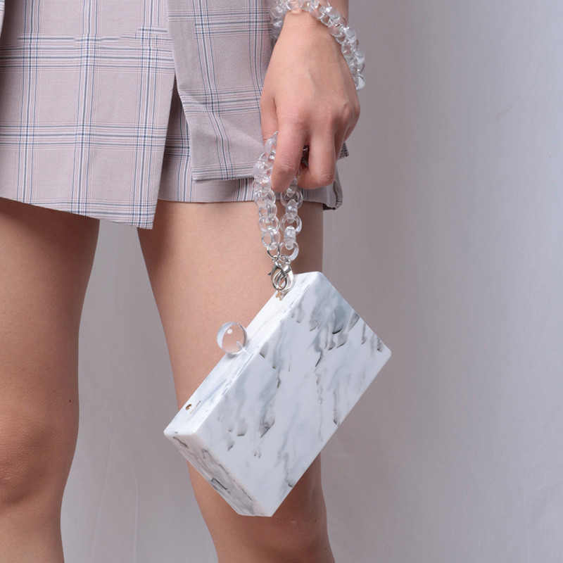 Fashion Tas Bahu Wanita Garis Marmer Bahan Akrilik Wanita Crossbody Flap Bags 2018 Terbaru Putih Pesta Wanita Clutch Bag