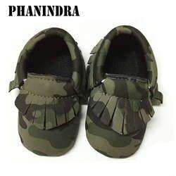 Ручной работы зеленый камуфляж моды Ленточки детские мокасины новорожденных Обувь для младенцев 12 цветов мягкие Искусственная кожа andador