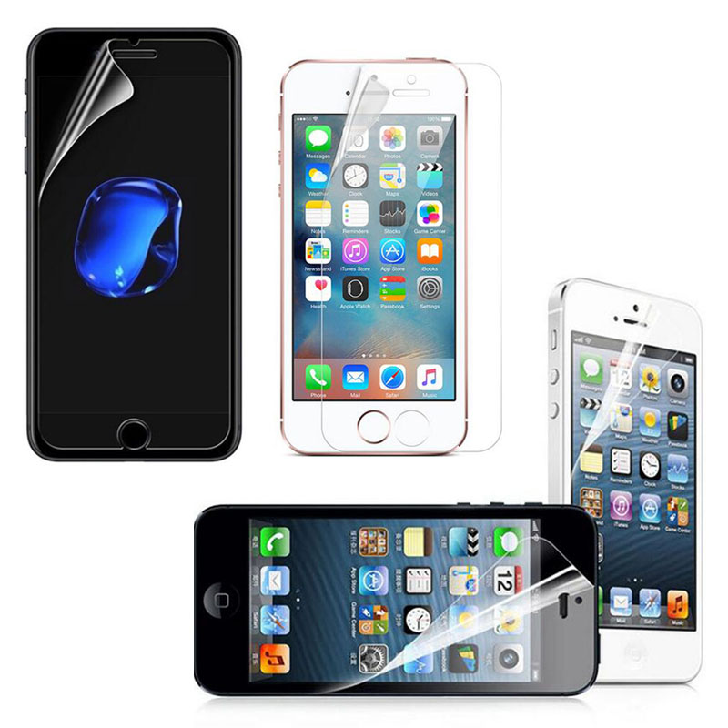 5pcs Clear Transparent Front Screen Glossy Guard Protector Protective HD Film for iphone 5 5C 5S SE 6 6S 7 Plus <font><b>7plus</b></font> 8 X <font><b>Cover</b></font>