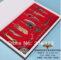 5 doos/partij groothandel verzending lol league of legends 11 stks/doos wapens hanger mannen sieraden, originele fabriek aanbod