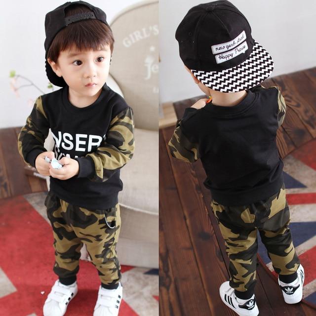 fashion boys clothes 2pcs/set Spring Autumn Camouflage T shirt +pant Boy Clothing Sets sport kids Clothes Set Babies