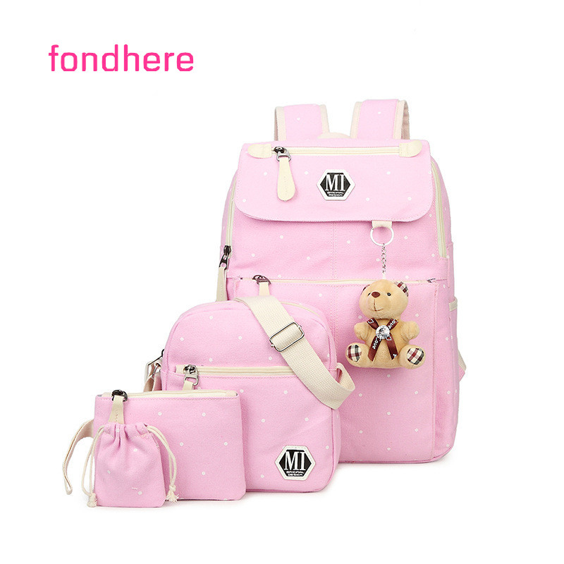 fondhere 4 Pcs/set Women Backpack Set Ladies Dot Printing School Bag Female Canvas For Teenage Girls Large Capacity Backpacks