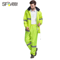 SFVest Mens Waterproof Reflective 150D Oxford Rainsuit With Conceale Hood Jacket And Trouser Yellow Lime Green