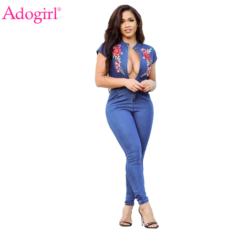 Adogirl S-3XL Plus Size Women Jeans Jumpsuit Rose Floral Embroidery Sexy Deep V Neck Cap Sleeve Bandage Jumpsuits Women Rompers