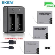 3 шт. оригинальный eken 1350 мАч Батарея с Батарея Зарядное устройство для sj4000 sj5000 M10 SJ7000 SooCoo на c30 C50 eken H9 H3 V8 серии