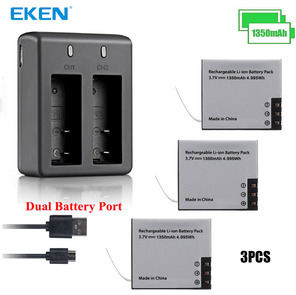 3PCS Original EKEN 1350mAh Battery with Battery Charger for SJ4000 Sj5000 M10 SJ7000 SooCoo c30 C50 EKEN H9 H3 V8 Series
