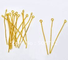 Free sjipping!!!!!2000pcs/lot Gold Plated Eye Pins 50 mm Findings радиолампа jj electronic 6386 l gold plated pins