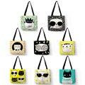Многоразовая сумка для шопинга Eco  милые сумки с принтом кота мяу сумки-шопперы для женщин  Пляжная Льняная сумка с логотипом