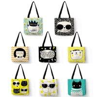 Eko kullanımlık alışveriş çantası sevimli kedi miyav baskı Tote çanta kadınlar için seyahat plaj keten çanta Logo ile
