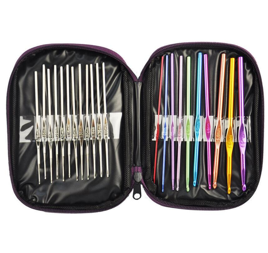 Hot Sale 22 Multi Color Aluminum Crochet Hooks Needles Yarn Weave Knit Craft DIT Set Kit with Case Free Shipping