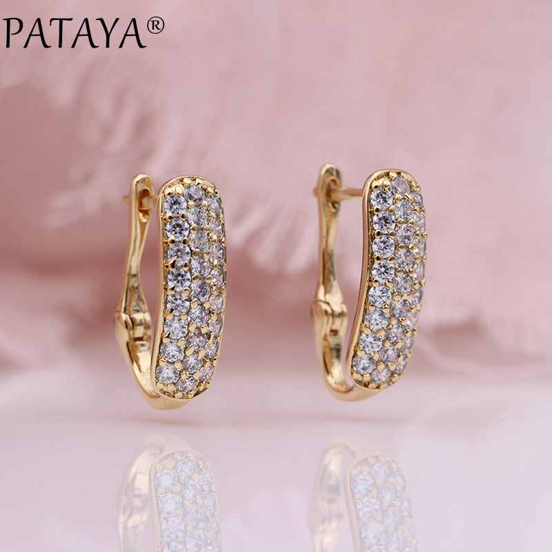 PATAYA New 585 Rose Gold White Natural Zircon Dangle Earrings Trendy Romantic Women Wedding Party Fine Hollow Flowers Jewelry