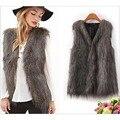 Moda 2016 de invierno de piel falsa mangas de la capa caliente mujeres de alta calidad más tamaño faux fur chaleco V-cuello delgado prendas de vestir exteriores suaves escudo