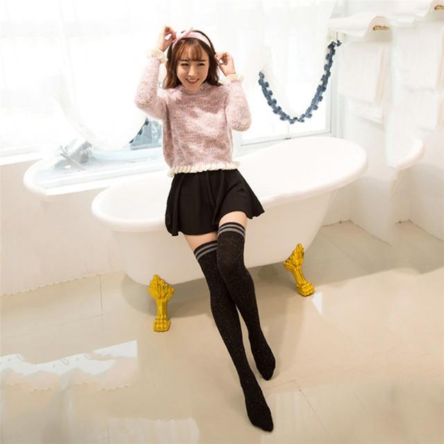 Otoño Invierno Diseño de Moda Muchacha de Las Mujeres de botas Sobre La Rodilla Muslo Grueso Calcetines Meias Medias A Rayas de Color Sólido 7 Elección