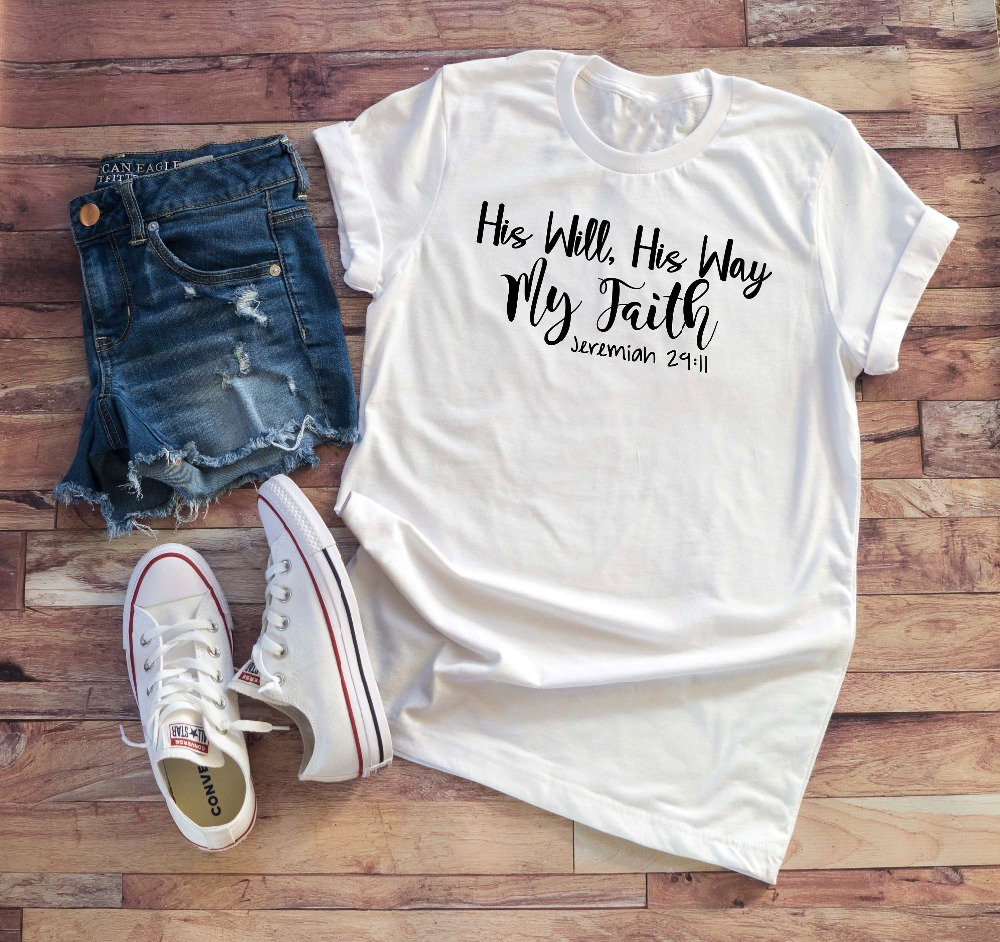 Womens Christian T-Shirt His Will His Way My faith Shirt Bible verse scripture Tee Inspirational slogan quality women quote tops image