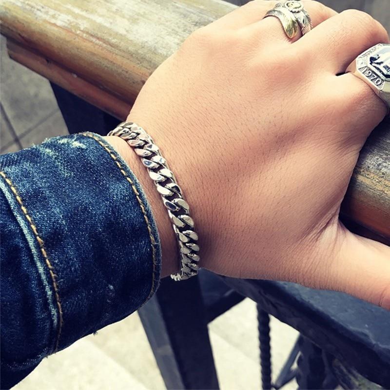 ZABRA Real 925 Sterling Silver Bracelet Mans 8mm Width 18.5 Length Rock Fashion Chain Bracelets For Man Jewelry Gift - 6
