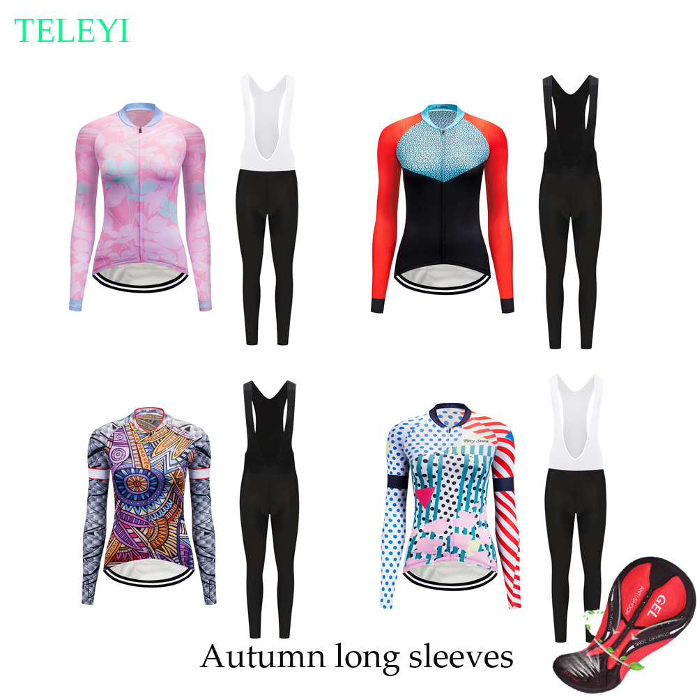 a1a521063 Autumn women cycling jersey set 2018 long sleeve bike clothing kit sport  wear racing bicycle clothes skinsuit maillot mtb suit