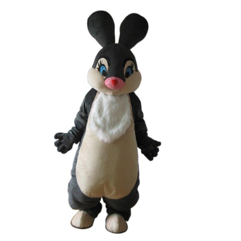 Di alta qualità Della Mascotte New Black Easter Bunny Coniglio Costume Della Mascotte Adulto Personaggio Dei Cartoni Animati Carino Lepre Coniglio Del Costume Della Mascotte