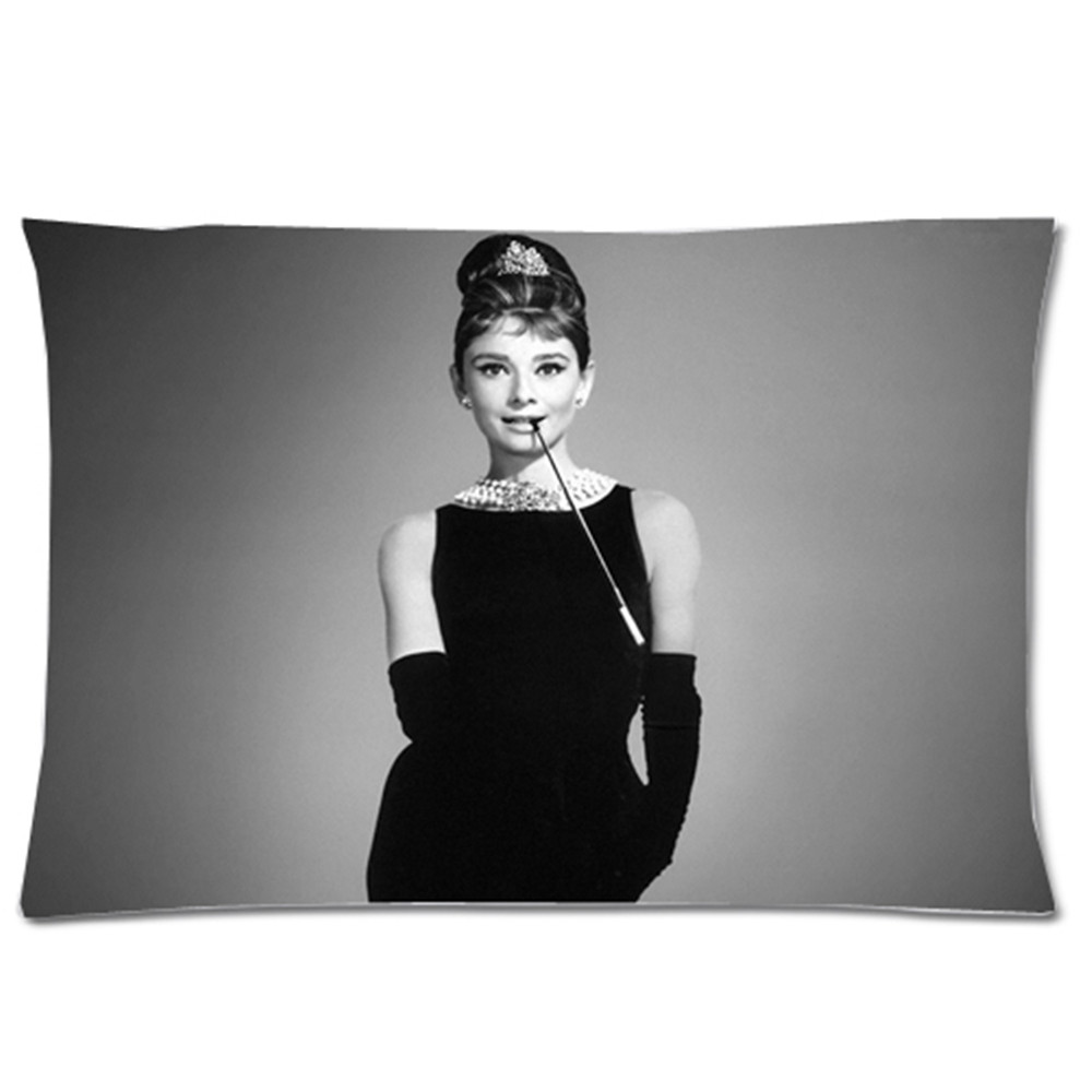 Custom New Audrey Hepburn Pillow Case Cover Bedding Pillowcases 20x30 Two Sides Pillow Case Cushion Case Cover
