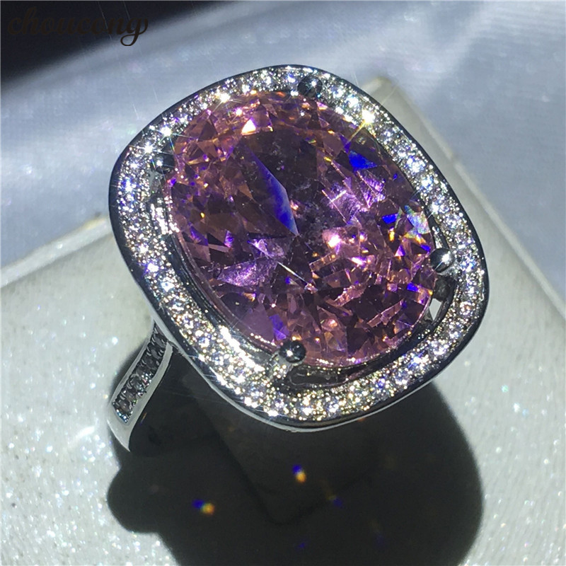 choucong Handmade Big Oval cut ct A zircon Cz ring White gold