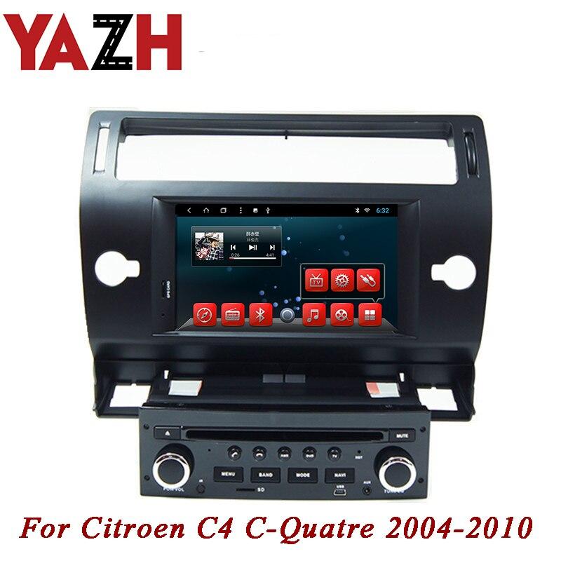 YAZH 1Din voiture Lecteur CD DVD Pour Citroen C4 C-quatre 2004 2005 2006 2007 2008 2009 2010 Android auto radio GPS/Glonass Navigation