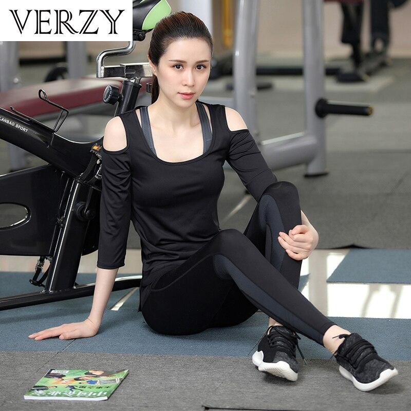 Novo Conjunto de Yoga Mulheres Roupas de Ginástica Preto Sem Alças de Manga Comprida T Shirt + Bra + Calça + Casacos 4 pcs de Fitness Respirável Correr Desporto Suit - 4