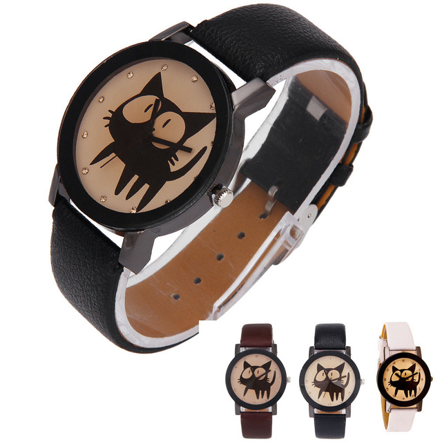 brixini.com - The Black Kitty Wrist Watch