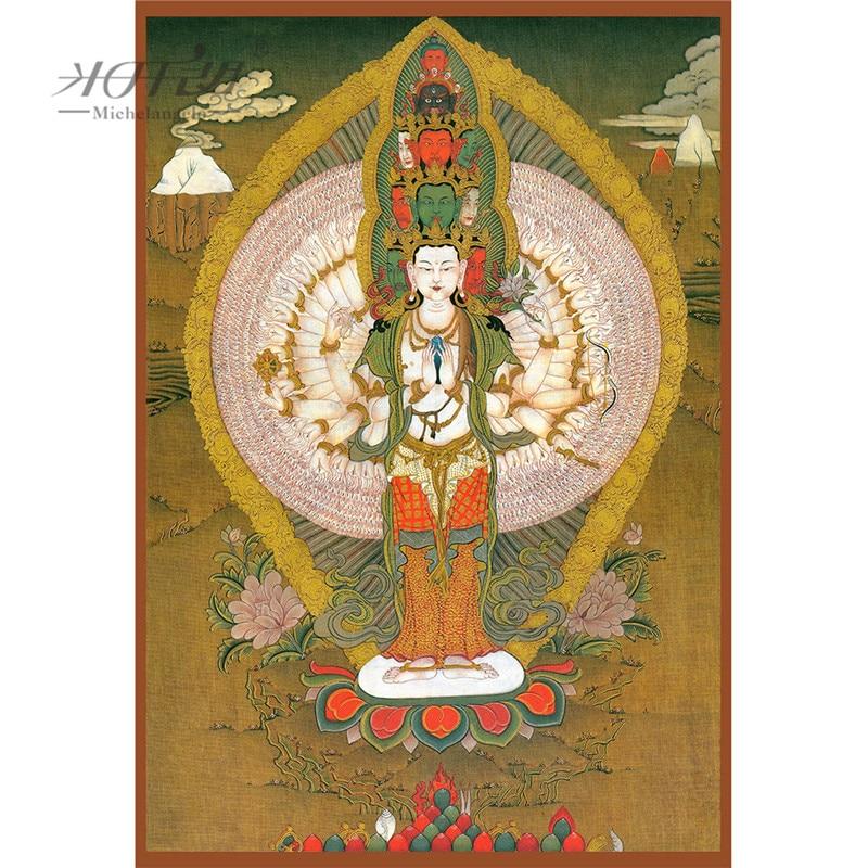 Michelangelo Wooden Jigsaw Puzzles Avalokitesvara Guanyin Kwanyin Tibetan Buddhist Thangka Painting Art Collectibles Home Decor