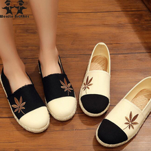 wenjie brother new black and white women shoes Natural linen summer fashion wild non-slip deep comfortable mesh lady