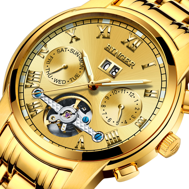 Switzerland Mechanical Watch Men Sapphire Binger Luxury Brand Waterproof Men s Watches Sapphire 18K Gold color