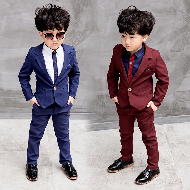 Bbay Boy Children Clothing Sets 3pcs Kids Suits Costume Red Blue Solid Color Boys Suit For Weddings Kids Child Clothing 5cs228 цена