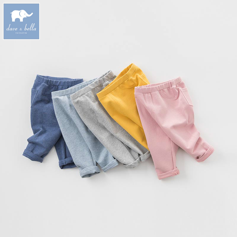 DB7870 dave bella spring unisex infant baby girls full length fashion pants children toddler pants boys trousers db5612 dave bella winter baby boys full length kids fashion plaid pants children trousers