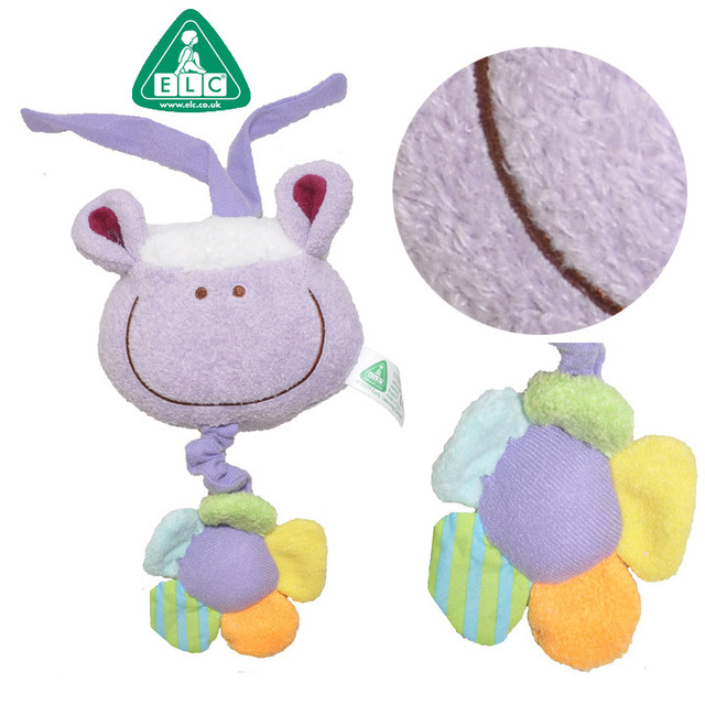 Elc New Blossom Farm Lavender Plush Baby Pull String Toy Musical