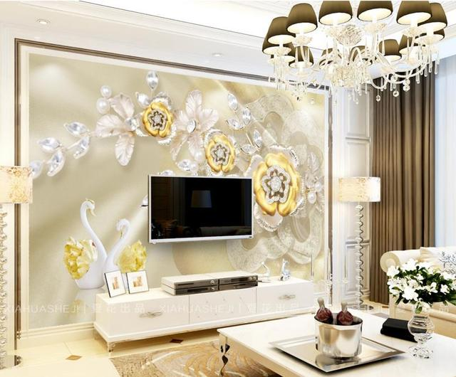 Customize Home Decor 3d Wall Paper Photo Rose Swan