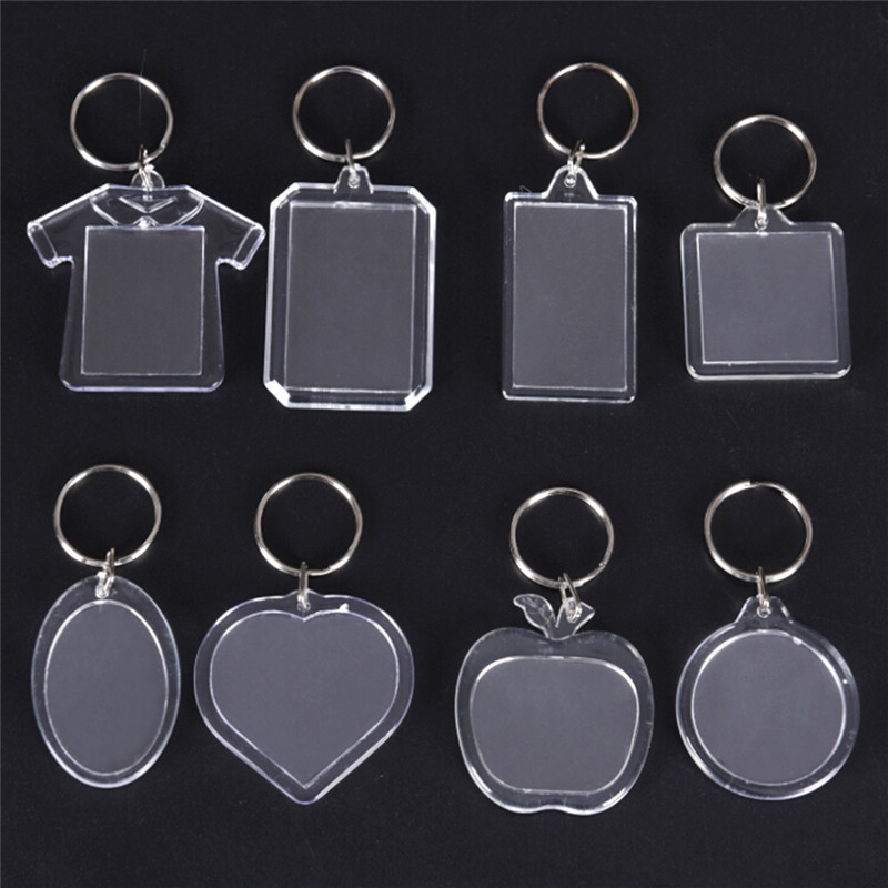 5PCsTransparent Blank Acrylic Insert Photo Picture Frame Keyring Rectangle Heart Round Style Keychain DIY Split Ring Gift